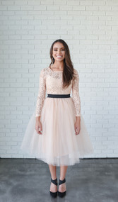 Rare London Blush Long Sleeve Lace Midi Tutu Dress