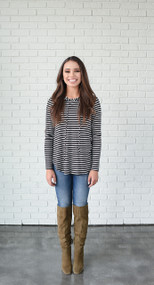 Long Sleeve Stripe Patch Elbow Top