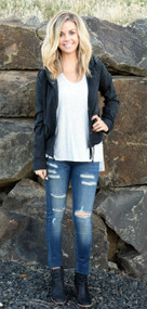 Black Drawstring Waist Jacket