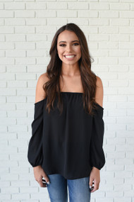 The Amber Long Sleeve Off Shoulder Black Top