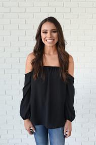 The Amber Long Sleeve Off Shoulder Black Top