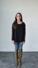 Black Crochet Sleeve Sweater