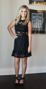 Limited Edition Rare London Black Crochet Drop Waist Dress