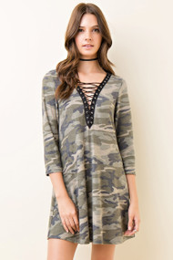 Army Lace Up Dress