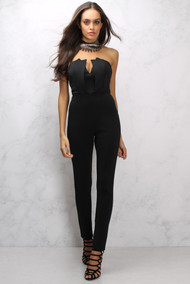 Rare London Black Panelled Bodice Jumpsuit