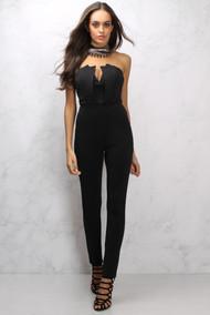 Rare London Black Panelled Bodice Jumpsuit