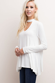 The Megan V-Cutout Ivory Top