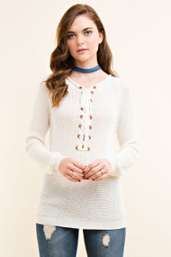 The Courtney Lace Up Sweater