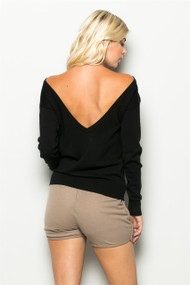 The Katie Back V Neck Black