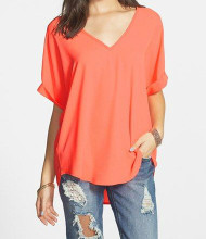 The Charlotte V Neck Coral Top