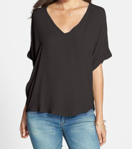 The Charlotte V Neck Black Top