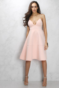 Rare London Dusky Pink Midi Flare Swing Dress
