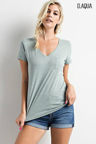 Heather V Neck Tee-Deep Aqua
