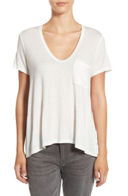 Lush Deep V Neck Tee- White