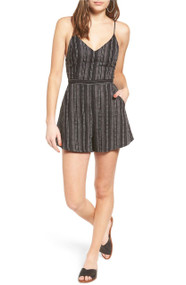 Lush-Black and Natural Cross Back Romper