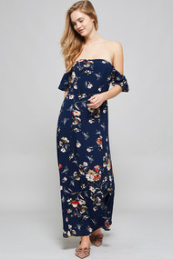 The Emma Off Shoulder Dress- Navy