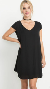 The Brittney Short Sleeve Black Dress