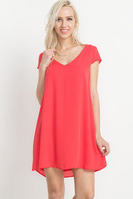 The Brittney Short Sleeve Coral Dress