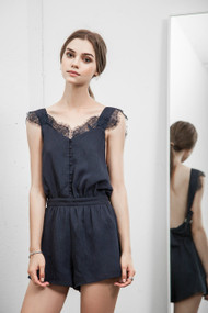 J.O.A  Navy Button Down Lace Romper