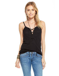 Chaser Ribbed Lace Up Tank- Black