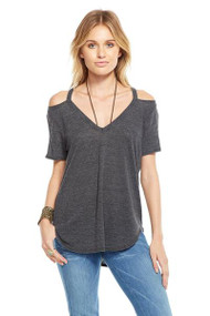 Chaser Cold Shoulder V Neck Tee