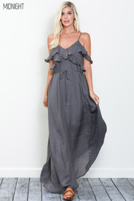The Yasmin Maxi Dress- Midnight