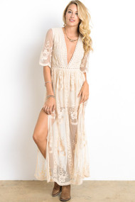 The Zoey Lace Maxi Dress- Natural