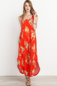 The Laina Maxi Dress- Coral