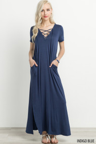 The Jacey Maxi Dress- Indigo Blue