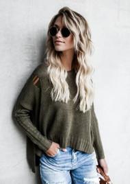The Sadie Sweater-Olive