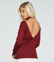 The Katie Back V Neck Top- Burgundy