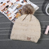 C.C. Beanie with Fur Pom Pom- Taupe