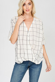 The Claire Top- Ivory & Black