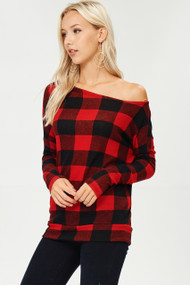 The Naomi Top- Red & Black Buffalo Plaid