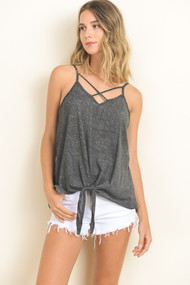 The Trista Tank- Charcoal