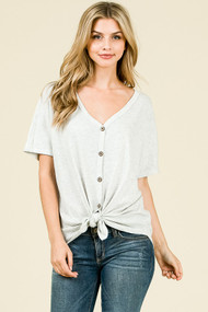 The Kira Top- Heather Grey
