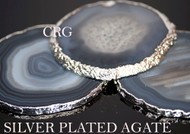 """#2 Silver Plated Natural Color Agate Slice 3"""" QTY-1"""