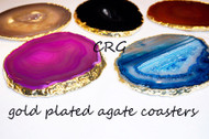 "#4 Gold Plated Agate Coaster QTY-1 / NO CORK/ 4""-4.5"""