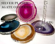 "#4 Silver Plated Agate Coaster QTY-1 / NO CORK/ 4""-4.5"""