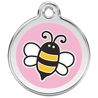 Red Dingo Enamel Tag Bumble Bee Pink