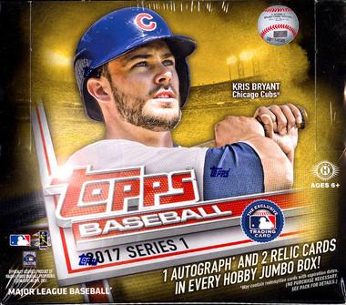2017 Topps Series 1 Baseball Jumbo HTA Hobby Box + 2 Silver Packs