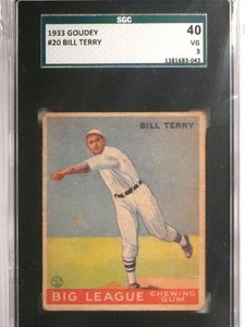 1933 Goudey Bill Terry rookie rc #20 SGC 40 = 3 VG *55077
