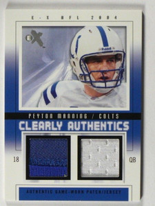 2004 E-X EX Clearly Authentics Peyton Manning dual patch jersey #D06/44 *39507