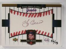 2003 UD Sweet Spot Yankee Greats Yogi Berra Black Autograph auto #D56/73 *58643