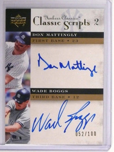 2004 Yankees Classics Scripts Don Mattingly & Boggs autograph #D52/100 *48668