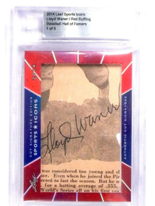 2014 Leaf Sports Icons Lloyd Waner & Red Ruffing dual cut autograph #D1/5 *63814