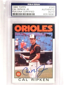 1986 Topps Cal Ripken Jr. Autograph PSA/DNA #340 *66706