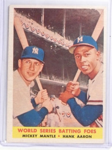 1958 Topps World Series Foes Mickey Mantle & Hank Aaron #418 VG-EX *58543