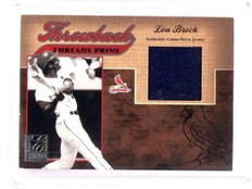 2005 Donruss Elite Lou Brock Throwback Threads Prime Jersey Patch #d17/25 *45887