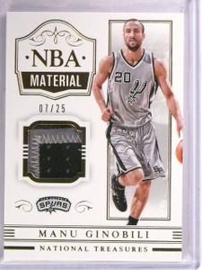 2014-15 National Treasures Manu Ginobili NBA Material Patch #D07/25 #NBAMG *5448